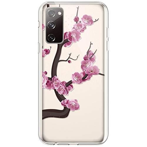 Kompatibel mit Samsung Galaxy S20 FE 5G Hülle,Transparente Silikon TPU Handyhülle Crystal Clear Durchsichtig Schutzhülle Blumen Bunt Muster Ultra-dünn Weiche Stoßfest Bumper Case Tasche,Pinke Blume