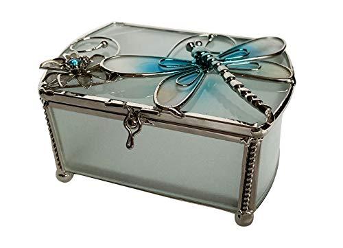 Cajita decorativa de cristal con diseño de dragón