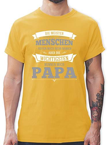 Vatertagsgeschenk - Die Wichtigsten nennen Mich Papa grau - M - Gelb - t-Shirts mit sprüchen männer - L190 - Tshirt Herren und Männer T-Shirts