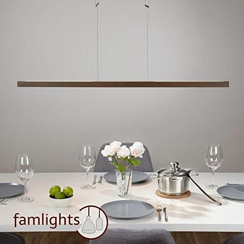 Famlights Led-hanglamp, marten van hout in bruin | hanglamp elegante hanglamp plat dunne eetkamerlamp hanglamp edele moderne industrie eetkamerlamp woonkamerlamp designerlamp 4000 K