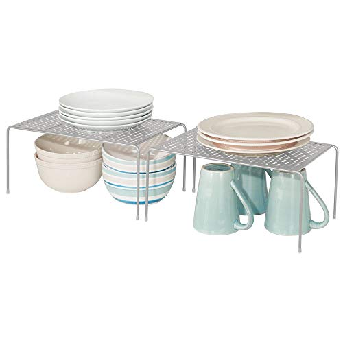 mDesign Juego de 2 estantes de Cocina – Soportes para Platos Individuales de Metal con pies Antideslizantes – Pequeños organizadores de armarios para Tazas, Platos, Vasos, etc. – Gris