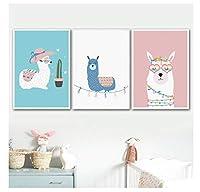 Chenjiaxu 漫画かわいいアルパカラマスグラスサボテン壁アートキャンバス絵画北欧のポスターとプリント壁の写真赤ちゃんキッズルームの装飾-40X60Cmx3フレームなし