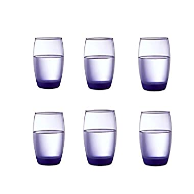 Kinger_Home 12- ounce Heavy Base Highball Drinking Glasses,Set of 6, Glass,Durable Wine Cups,Drinking Glasses for Water, Juice, Beer, Wine, and Cocktails,(purple)