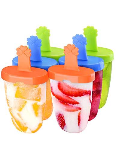 IKICH Eisform, Eisformen BPA Frei, 6 Eisförmchen wiederverwendbar, DIY Popsicle Formen Set, Eis am Stiel Formen LFGB Geprüft, Eisformen für Stieleis, Perfekt für Kinder, Baby und Erwachsene