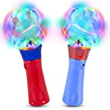 ArtCreativity Red & Blue Light Up Orbiter Spinning Wands, Set of 2, 7 Inch LED Spin Toy for Kids with Batteries Included, Great Gift Idea for Boys and Girls, Fun Birthday Party Favor, Carnival Prize