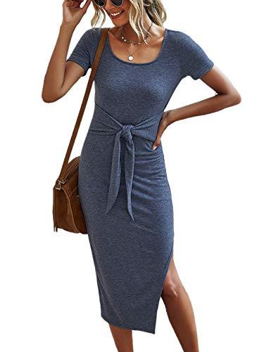 YACUN Women Summer Dress Bodycon Short Sleeve Tie Waist Midi Dresses Greyblue...