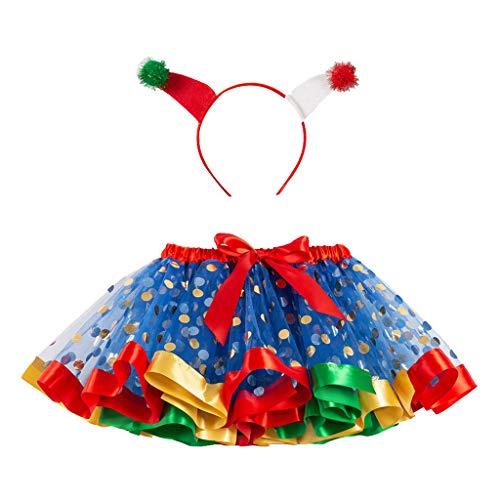 Onemopie Children's Christmas Costume Skirts,Polka Dot Mesh Tutu Skirt + Headdress Hairband Two-Piece Set for Girls,2020 Birthday Party Dance Photography Prop Dresses
