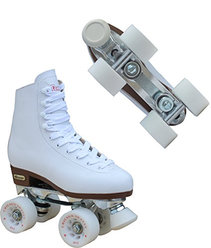 Chicago Women's Premium Leather Lined Rink Roller Skate - Classic White Quad Skates - 7