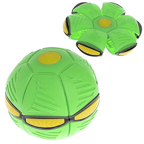 UFOマジックボール,マジックUfoボール,フラットスローボール,フリスビーボールおもちゃ,変形フライングソーサーボール,減圧玩具フライングソーサーフォームフラッシュ子供ギフト屋外玩具 (緑)