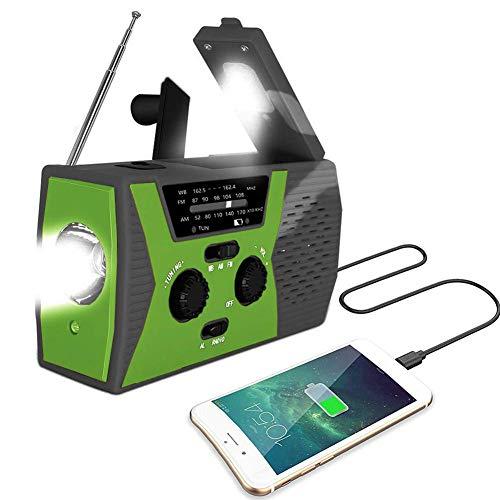 WSHA Radio de Emergencia, Banco de energía de 2000 mAh, Radio meteorológica Solar de manivela portátil con Linterna LED y lámpara de Lectura, Alarma SOS para Acampar en casa y Supervivencia,Verde