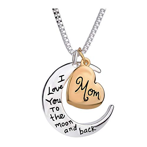 Balakie I Love You Mom Love Heart Necklace, Fashion Rhinestone Birthstone Necklace for Mom,Best Mom Jewelry Gift for Mother's Day (A)