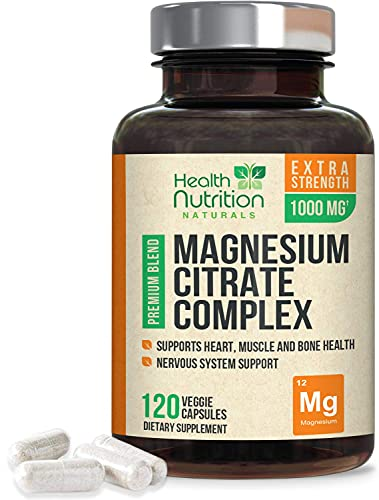 High Potency Magnesium Citrate Capsules 1000mg - Gentle Complex for Max Absorption, Made in USA, Best Bowel Supplement That Supports The Colon and Also Supports Restful Sleep - 120 Capsules
