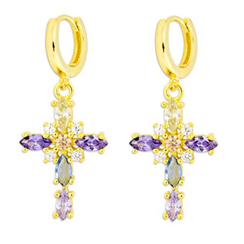 Iyé Biyé Jewels - Pendientes Mujer Aros Criollas Plata de Ley 925 Chapado Oro Amarillo Cruz Piedras Colores 15 Mm Cierre Clip