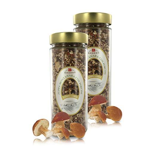 Sopa Montanara de Cereales y Legumbres con Boletus: Lentejas, Cebada y Farro | 450 Gramos (Paquete de 2 Piezas)