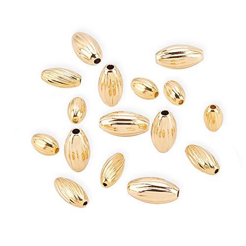 BENECREAT 60PCS Perline in Ottone Placcato Oro 18K Perline Ovali Distanziatore Ondulato Foro 1mm 3 Dimensioni Miste per Collane, Braccialetti e Creazione di Gioielli