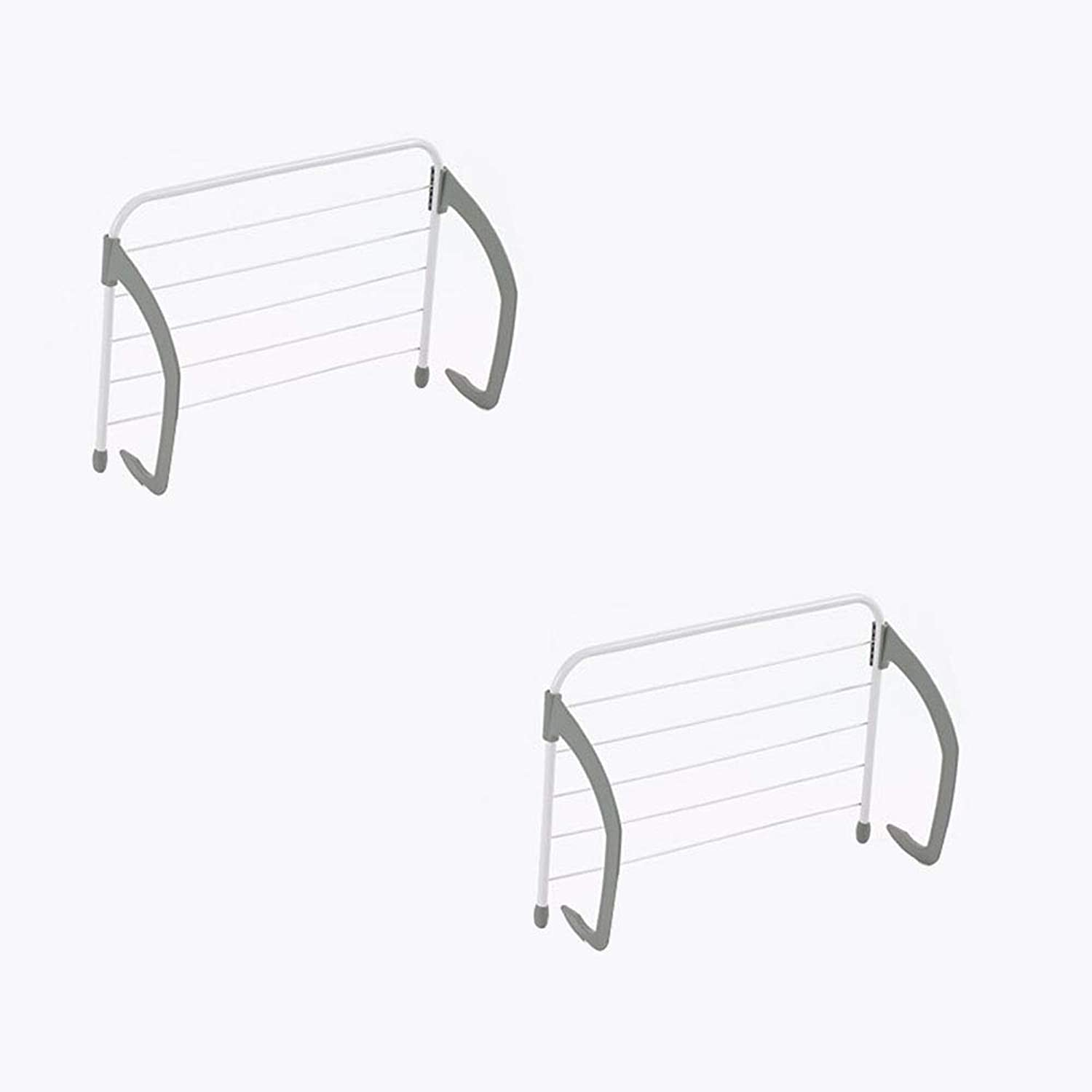 2 Pieces Folding Clothes Hanger Adjustable Drying Rack Retractable Coat Hanger for Living Room Bathroom Bedroom Office Easy Inssizetion