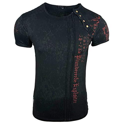 Rusty Neal Herren T-Shirt Slim Fit mit Vintage Waschung Washed Stars A1-RN-15191, Größe:XL, Farbe:Schwarz