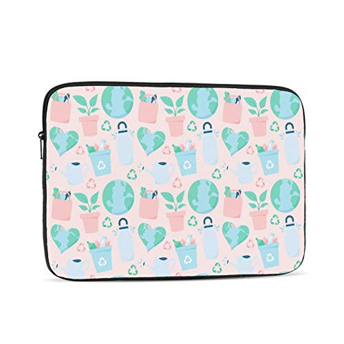 Laptop Sleeve Bag Nature World Flower Pots Icons Portable Zipper Tablet Cover Bag Notebook Computer Protective Bag,Black