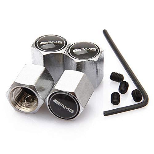ATpart 4 Tapones de válvula antirrobo para neumáticos de Coche, de aleación de Aluminio, con Logotipo de AMG, Emblema M
