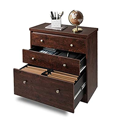 DEVAISE Lateral File Cabinet, 3 Drawer Wood Storage Cabinet with Hanging Letter/Legal Size File for Home Office, Cherry