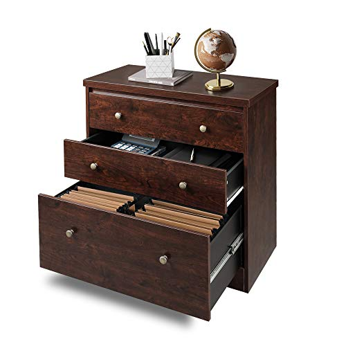 3-Drawer Rolling Filing Cabinet Cherry Office File Storage A4 Suspension Files