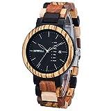 Bewell 木製腕時計 メンズ クオーツ 曜日 日付き アナログ表示 ファッション 復古 天然木腕時計 男性 プレゼント 贈り物 (混合木色)