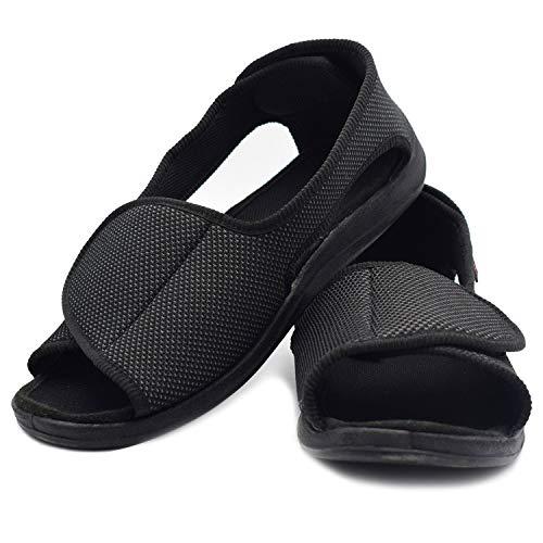 W&LESVAGO Men's Open Toe Diabetic Sandals - Extra Wide Width Arthritis&Edema Footwear MS6010M (12, Black)