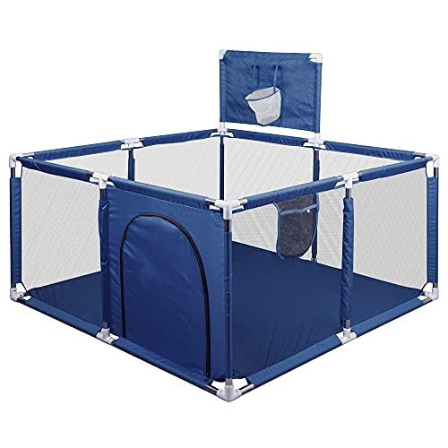 Valla de Juegos para Bebes, Parque Infantil para Bebés, Oxford Cloth Valla de Seguridad para Niños con Marco de la Bola, 128*128*62CM (Azul)