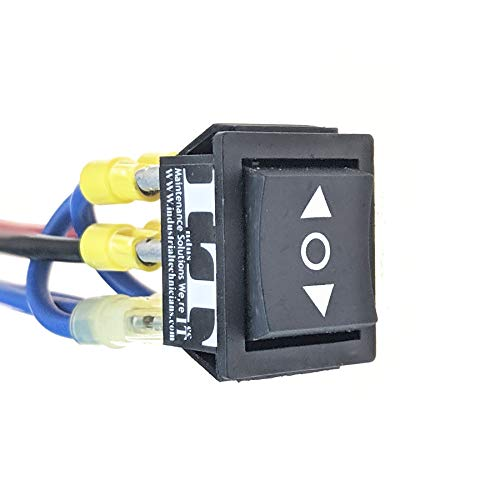 IndusTec Wired 20 AMP 12V - DC Motor Polarity Reversing Rocker 3 Position DPDT Momentary automatic reset Switch