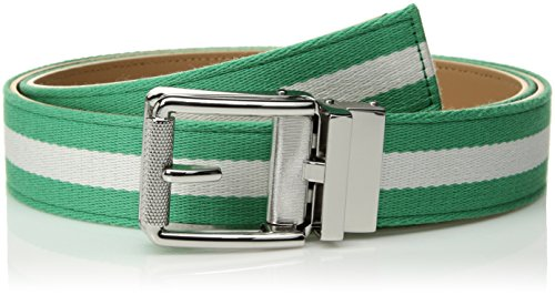 Comfort Click Men's Adjustable Perfect Fit Ratchet Belt-As Seen On TV, Green White Stripe/Polished Nickel - Web, ONE SIZE