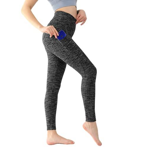 QTJY Leggings Deportivos con Bolsillo Mujer Fitness Yoga Pantalones elásticos de Cintura Alta Pantalones Ajustados Leggings de Entrenamiento al Aire Libre BM