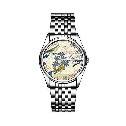 Reloj de pulsera para hombre, de lujo, resistente al agua hasta 30 m, con fecha, reloj deportivo para hombre, de cuarzo, informal, regalo con ramo de flores azules, pájaros y mariposas