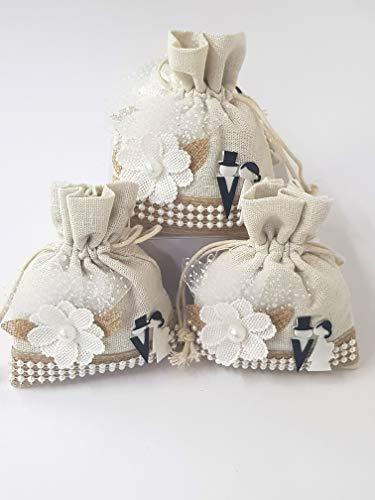 takestop Set 12 Pezzi Sacchetti Sacchetto Bianco Fiore sposi 10x13CM CC_7751 BOMBONIERA BOMBONIERE Confetti PORTACONFETTI Matrimonio PROMESSA