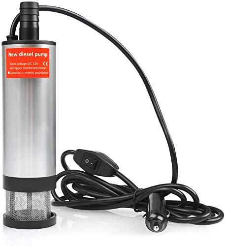 ATPWON Tauchpumpe 51mm Dieselpumpe DC 12V Ölpumpe Wasserpumpe mit Filter Mesh Zigarettenanzünder Transfer Heizöl Treibstoff für Auto, KFZ, Caravan, Marine Boot