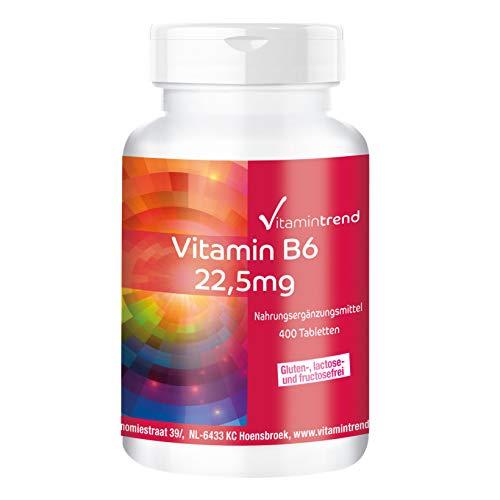 Vitamina B6 22,5mg – Vegano – Piridoxina HCl – Bote grande – 400 comprimidos
