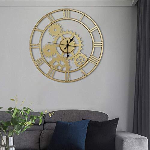 Ybzx Stille Wanduhren, Metall-Skelettuhr, Keine Stanzwanduhren für Wohnzimmer Große, Klassische dekorative Hängeuhr aus Quarz, Gold-40 cm
