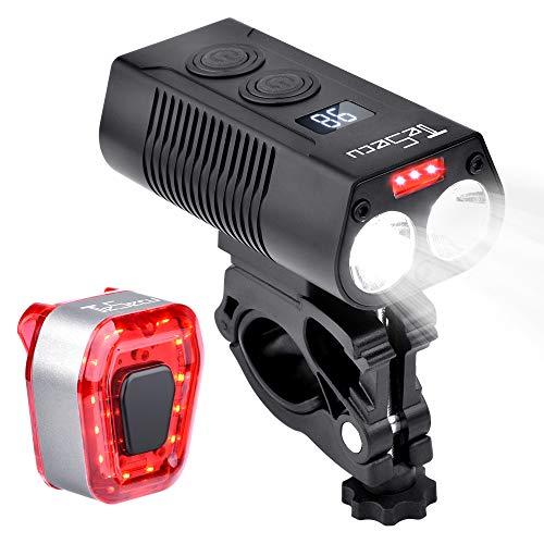 TESECU LED Bike Light USB Rear Bicycle Light 1300 Lumen 5000mAh Rechargeable Bike Tail Light and Front Light Set Bright Cycle Headlight Fits All Mountain & Road Bike, Waterproof