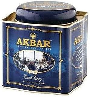 Akbar | Earl Grey Supreme | Ceylon Black Tea | Premium Loose Leaf | Single Origin | Non GMO | Rich & Robust | 250g / 8.75 oz. tin Caddy | 125 servings