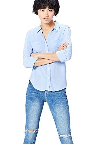 find. Camisa de Manga Larga con Bolsillos para Mujer , Azul (Light Blue), 38 (Talla del Fabricante: Small)