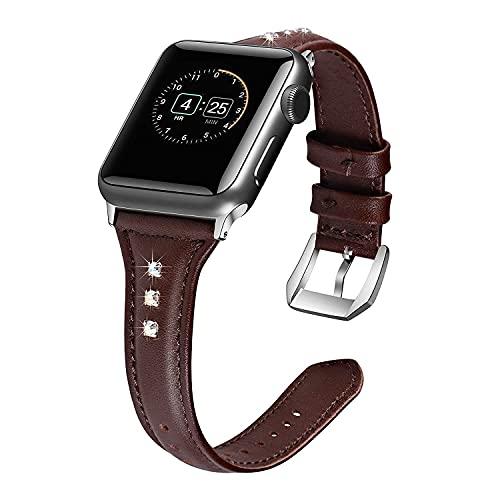 Cuero Correas Compatible con Apple Watch 38mm/40mm 44mm/42mm, Ajustable Banda Correa Deportivo Pulseras de Repuesto para iWatch Series 6/5/4/3/2/1/SE Mujer y Hombre, marrón (Size : 42mm/44mm)
