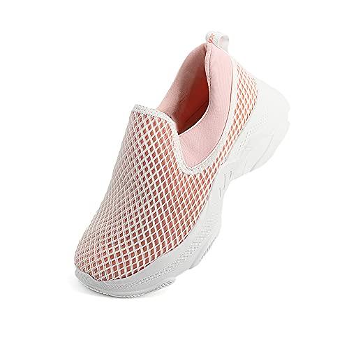 JOMIX Sneakers da Donna Senza Lacci Scarpe Sportive in Tela Traspiranti Scarpe estive Estate Antiscivolo LD2279 (Rosa, 39)