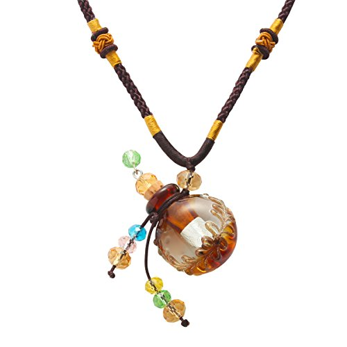 Aromatherapy Essential Oil Diffuser Glass Pendant Necklace for Women Girl Brown Wax Rope Adjustable