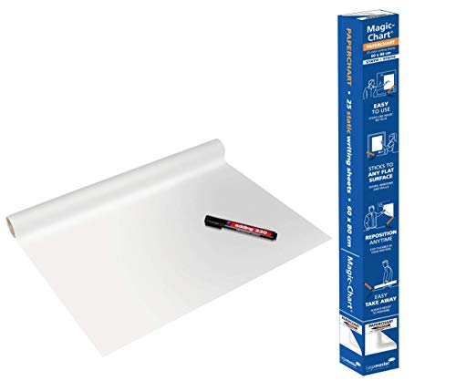 Legamaster 7-159300 Magic-Chart Paperchart, gerollt 25 Blatt (je 60 x 80 cm) + Marker