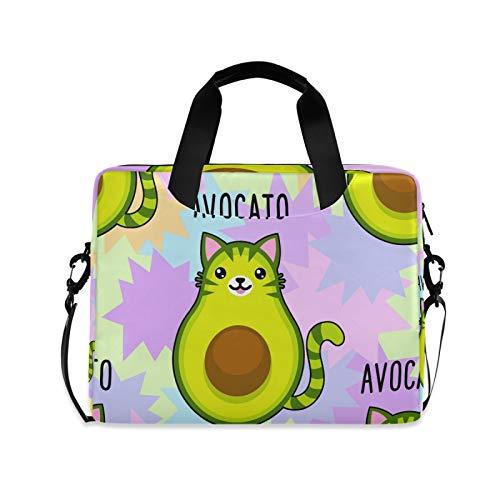 Biekaya Avocado Cat Laptop Bag 15.6 inch Durable Laptop Messenger Shoulder Bag Business Briefcase Laptop Sleeve Case with Strap