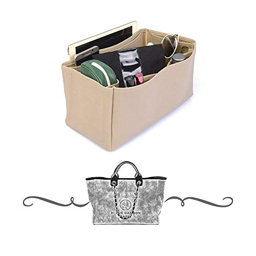 Chanel Deauville Tote Vegan Leather Handbag Organizer in Dark Beige Color, Leather bag insert for Chanel Deauville Tote, Express Shipping