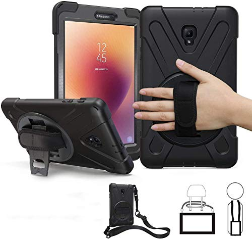 Samsung Galaxy Tab A 8.0 Case 2017 with Strap,T380 Case TSQ Shockproof Durable Hard Heavy Duty Rugged Protective Case with Handle Hand Strap/Stand/Shoulder Belt for Samsung Tab A 8.0 Inch Tablet,Black