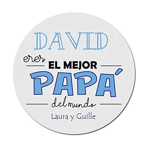 Kembilove Alfombrilla de Ratón Personalizada para Padre - Alfombrilla de Ratón Redonda Personalizada con nombre Eres el Mejor Papá del Mundo - Regalo Original para el día del Padre, Cumpleaños