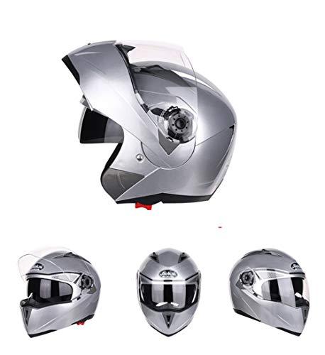 Goolife Moto Crash Casque Modulaire Haute Sécurité-JIEKAI Full Face Racing Casque De Moto avec Pare-Soleil pour Les Hommes Adultes Femmes Argent,L