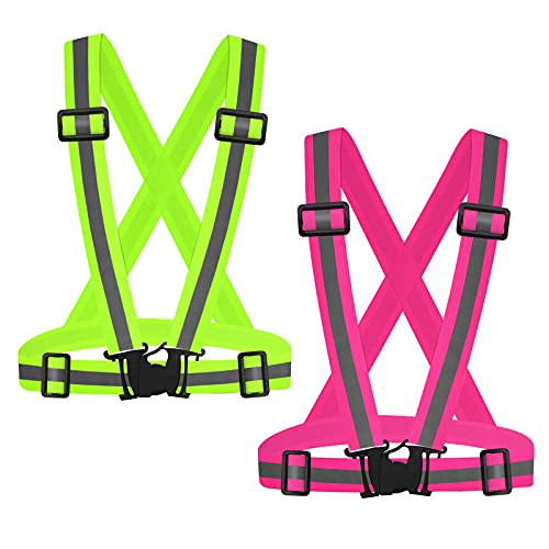 SAWNZC Running Reflective Vest Gear 2Pack, Adjustable Safety VES High Visible Reflective Belt Straps for Night Running Outdoor Cycling Motorcycle Dog Walk Jogging