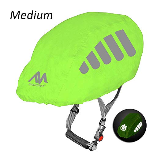 ayamaya Bike Helmet Cover with Reflective Strip, High Visibility Waterproof Cycling Helmet Rain Cover, Universal Size Windproof Dustproof Breathable Road Bicycle Helmet Water Snow Cover Ride Gear